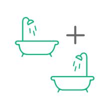In meerdere badkamers tegelijk